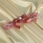 Подвязка невесты с бантиком, коричневая