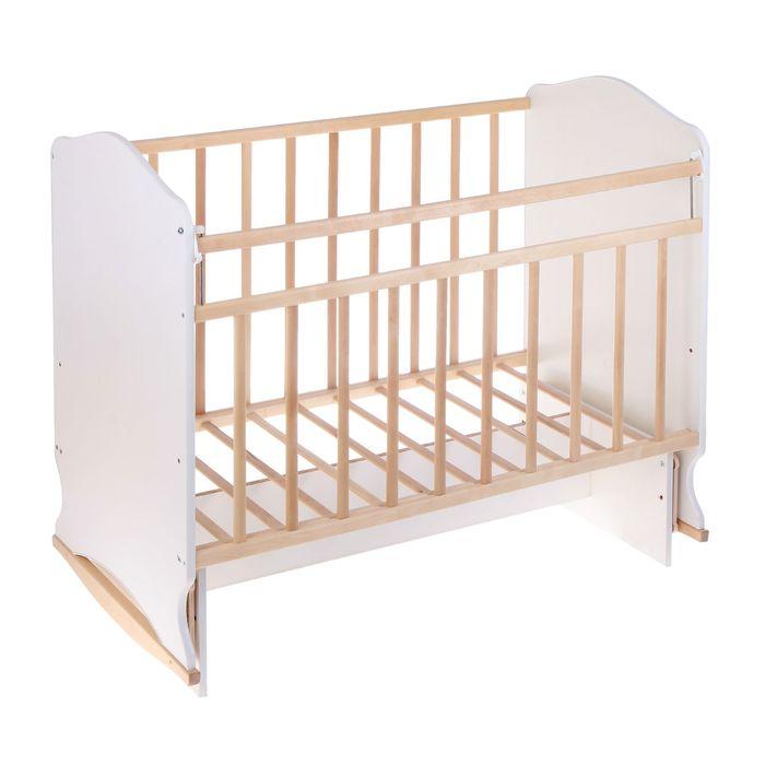 Детская кроватка «Морозко» на качалке с поперечным маятником, цвет белый/берёза - фото 1689283