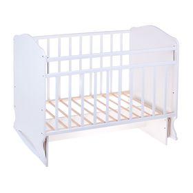 Детская кроватка «Морозко» на качалке с поперечным маятником, цвет белый