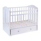 Детская кроватка «Чудо» на маятнике, с ящиком, цвет белый