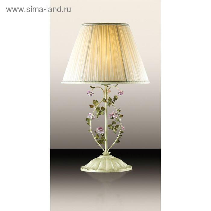"""Настольная лампа """"Тендер"""" 1 лампа (E27 60W 220V) беж/декор.цветы/абажур ткань"""