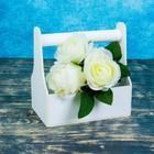 Кашпо флористическое, белое, с ручкой, 20х20х12,5см