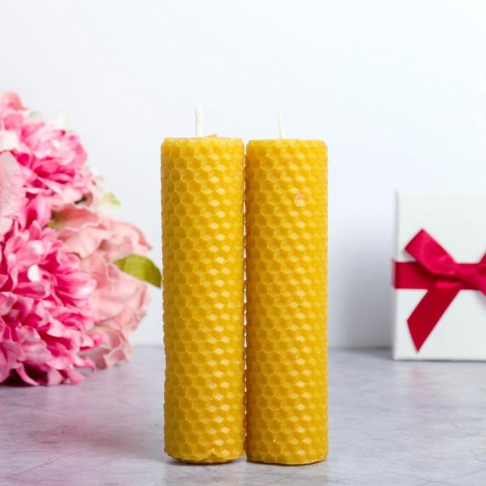 Набор свечей из вощины медовой 13 см, 2 шт