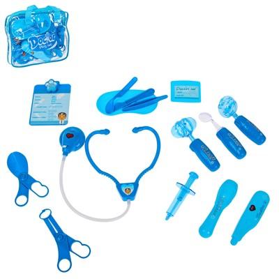 """Набор доктора """"Мой маленький доктор-2"""", цвет синий, свет,звук, в сумке 17 предметов"""