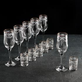 """Набор подарочный """"Лилия"""", 12 предметов: 6 бокалов 200 мл, 6 стопок 50 мл, гравировка, отводка золотом"""
