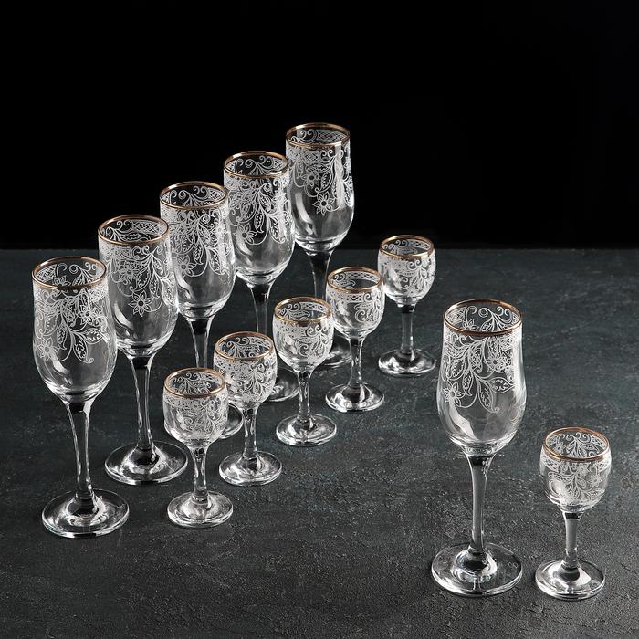 Набор подарочный «Акация», 12 предметов: бокалы 200 мл, 6 шт, рюмоки 60 мл, 6 шт, гравировка, отводка золотом - фото 1689574