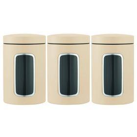 Набор контейнеров для сыпучих продуктов с окном Brabantia, цвет миндальный, 3 x 1.4 л