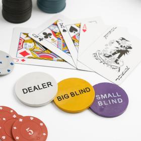 Покер, набор для игры (карты 2 колоды, фишки с номин. 200 шт, сукно 60х90 см) микс
