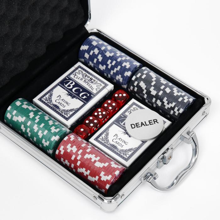Набор для покера Poker set: 2 колоды карт по 54 шт., 100 фишек, 5 кубиков, в металлическом кейсе