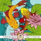 Блокнот-раскраска для взрослых: Япония. Карпы Кои