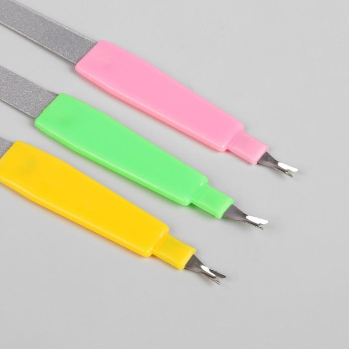 Пилка-триммер металлическая для ногтей,19см, цвет МИКС
