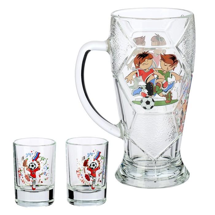 """Набор питьевой """"Футбол"""": кружка 500 мл, 2 стопки 50 мл"""