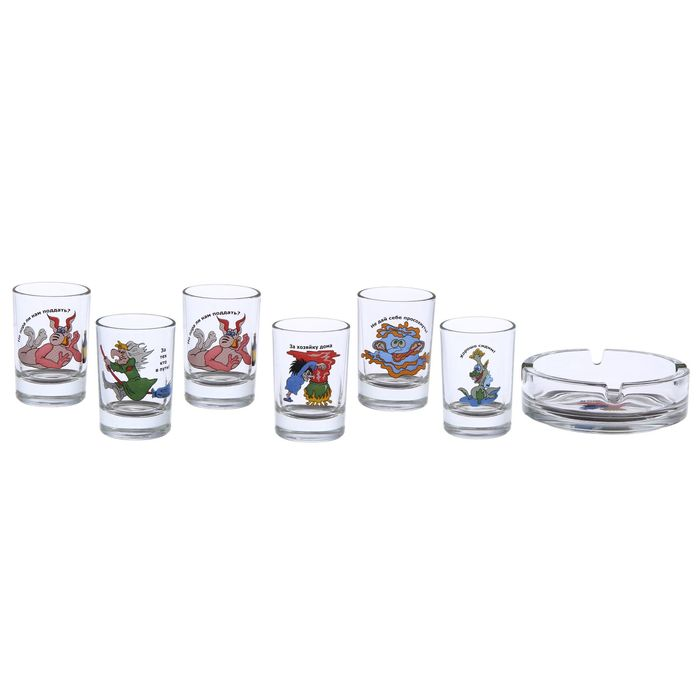 """Набор для спиртных напитков """"Приколы"""", 7 предметов: 6 стопок 50 мл, пепельница, рисунок МИКС, в подарочной упаковке"""