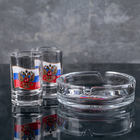 """Набор для спиртных напитков """"Флаг России"""": 2 стопки 50 мл, пепельница, в подарочной упаковке, МИКС"""