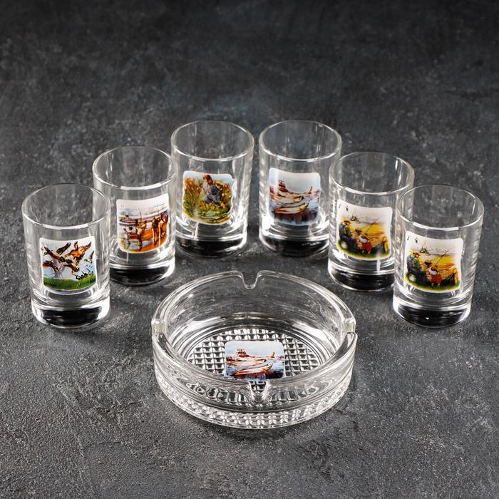"""Набор для спиртных напитков """"Охота-Рыбалка"""", 7 предметов: 6 стопок 50 мл, пепельница, рисунок МИКС, в подарочной упаковке"""