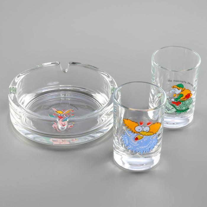 """Набор для спиртных напитков """"Приколы"""": 2 стопки 50 мл, пепельница, рисунок МИКС, в подарочной упаковке"""