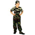 """Карнавальный костюм военного """"Отважный патруль"""", штаны, футболка, бандана, рост 134 см"""