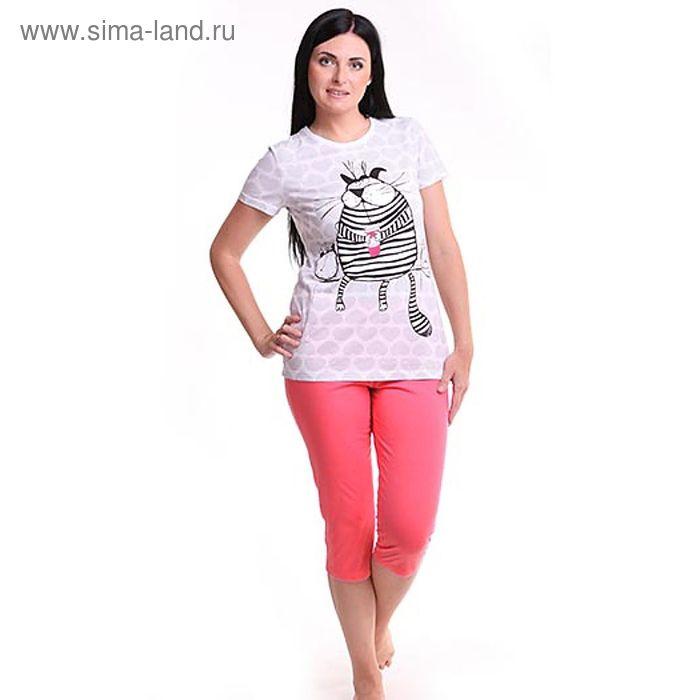 Пижама женская (футболка, бриджи) Р209225, цвет розовый, 158-164 см, принт Коты, р-р 42
