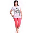 Пижама женская (футболка, бриджи) Р209225, цвет розовый, 158-164 см, принт Коты, р-р 48