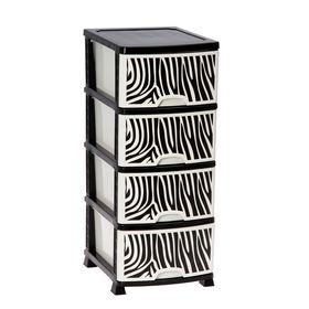 Комод 4-х секционный «Сафари», цвет чёрно-белый