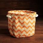 Упаковка для композиций, джут, 13 х 13 х 10 см, оранжевые зигзаги