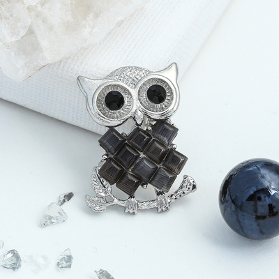 "Brooch ""Owl"" mosaic, gray color in silver"