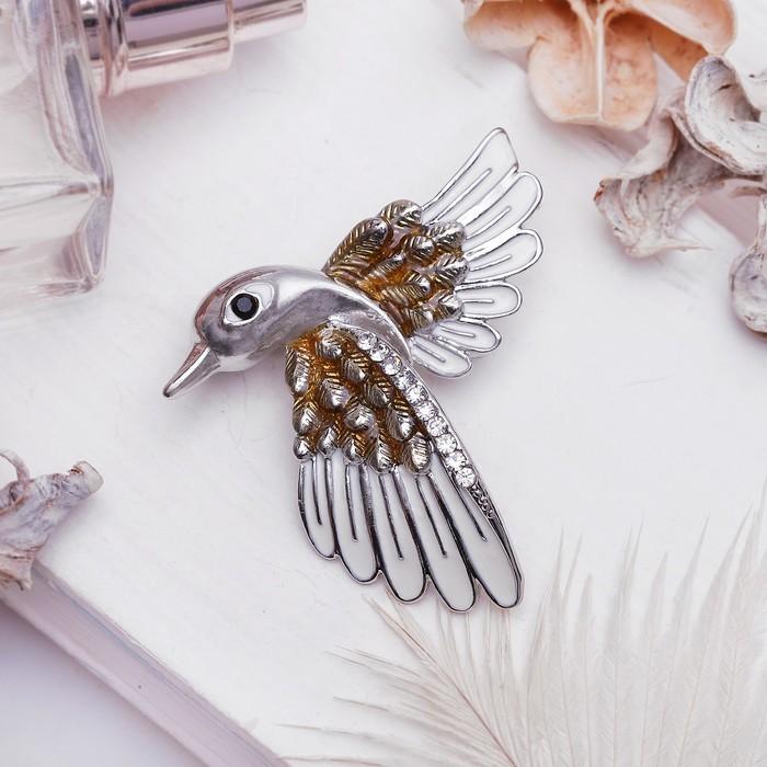 """Брошь """"Птичка"""" ястреб, цвет бело-коричневый в серебре"""