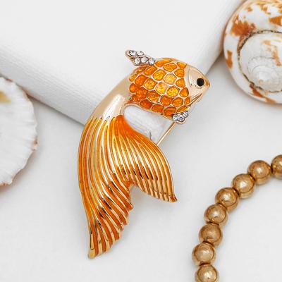 """Брошь """"Рыбка золотая"""", цвет желтый в золоте"""