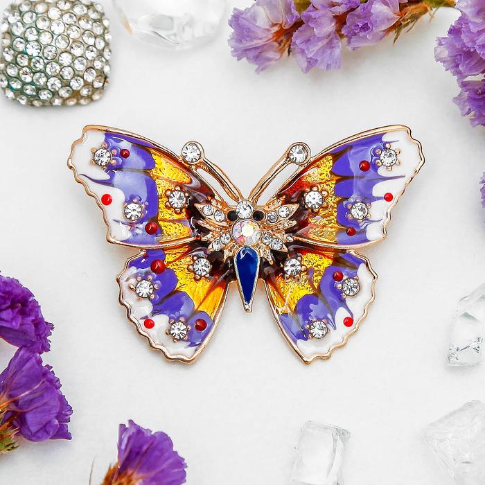 """Брошь """"Бабочка"""" мозаика малая, цветная в золоте - фото 306738199"""