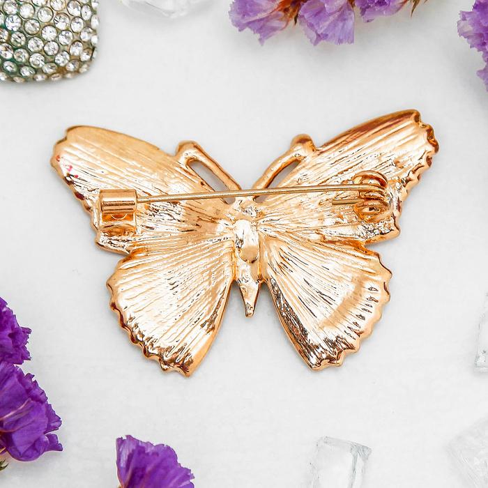 """Брошь """"Бабочка"""" мозаика малая, цветная в золоте - фото 306738200"""
