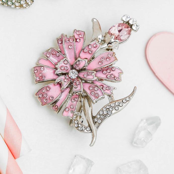 """Брошь """"Цветок одуванчика"""", цвет розовый в серебре"""