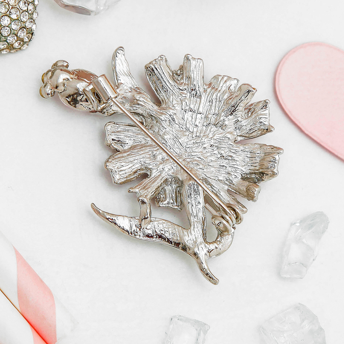 """Брошь """"Цветок одуванчика"""", цвет розовый в серебре - фото 296942738"""