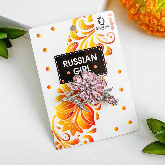 """Брошь """"Цветок одуванчика"""", цвет розовый в серебре - фото 296942739"""