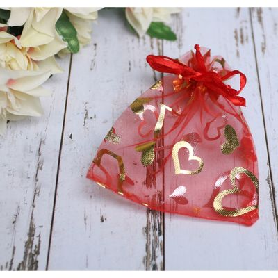"""Gift bag """"Hearts"""" 10*12, color red with gold"""