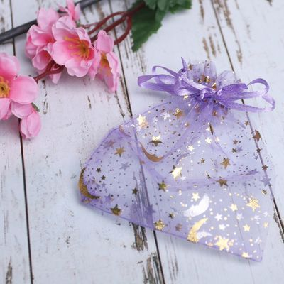 """Pouch gift """"stars of the month"""" 10*12, color purple with gold"""