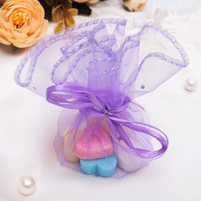 Мешочек подарочный D=26 см, в собранном виде 8x6. цвет фиолетовый со стразами