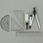 A metal compass in a plastic pencil case with mechanical pencil, leads, eraser, ruler, 2 triangles and a protractor, MIX