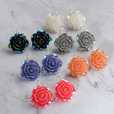 Earrings plastic Flower rose, rainbow color MIX