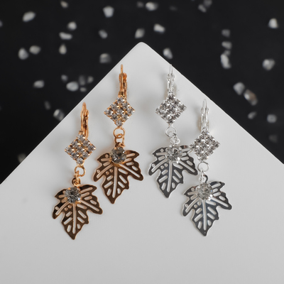 "Earrings with rhinestones ""Leaf"" diamond, MIX color"