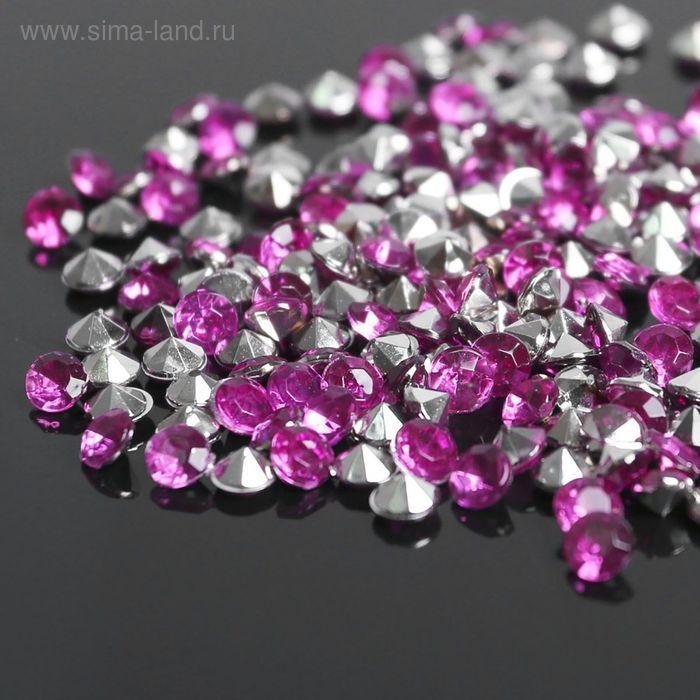 Стразы (набор 10грамм, 300шт), 4мм, цвет ярко-розовый №34