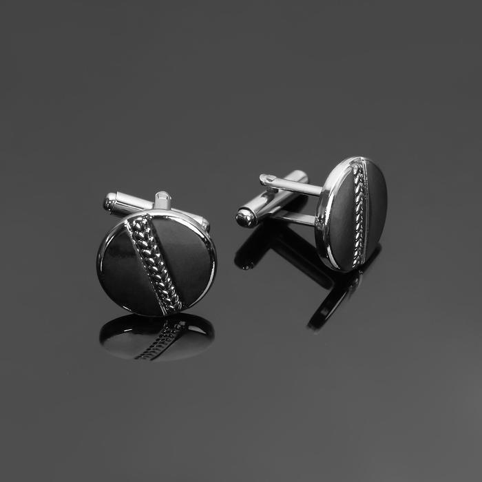 """Запонки стальные """"Круг"""" полоса резная, цвет серебро - фото 7469991"""