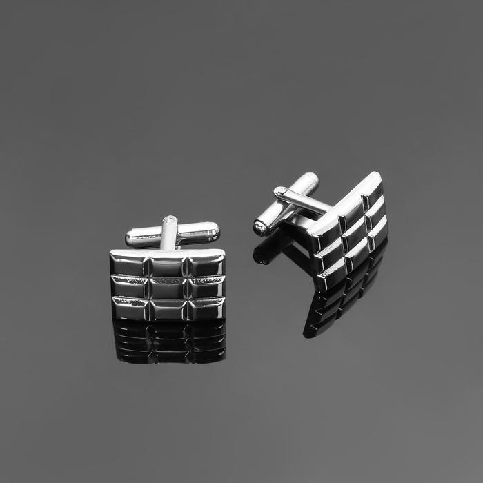 """Запонки стальные """"Прямоугольник"""" плитка, цвет серебро - фото 7470001"""
