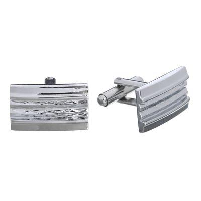 Запонки стальные, прямоугольник, цвет серебряный