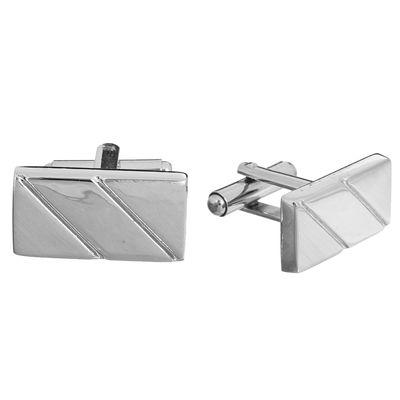 Запонки стальные, прямоугольник, нарезка, цвет серебряный