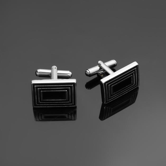 """Запонки стальные """"Классика"""" прямоугольники с эмалью, цвет чёрный в серебре"""