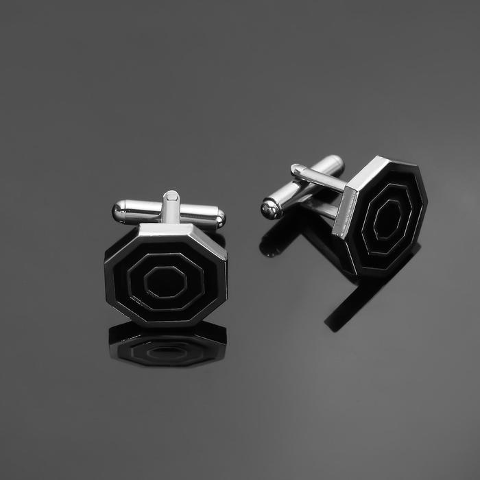 """Запонки стальные """"Восьмигранник"""" с эмалью, цвет чёрный в серебре"""