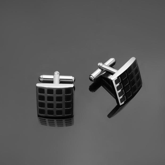 """Запонки стальные """"Квадрат"""" сетка, цвет чёрный в серебре - фото 7470016"""