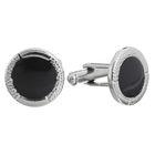 Запонки круг в обрамлении с эмалью, цвет чёрный в серебре