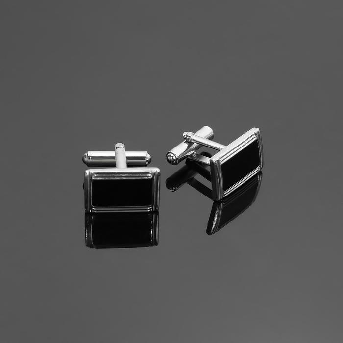 """Запонки """"Прямоугольник"""" в рамке с эмалью, цвет чёрный в серебре"""
