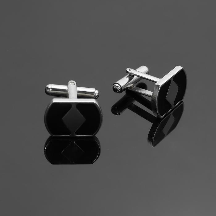 """Запонки стальные """"Геометрия"""" с эмалью, цвет чёрный в серебре - фото 7470019"""